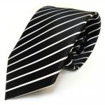 schöne TigerTie Designer Krawatte in schwarz weiss gestreift - 100 % Polyester