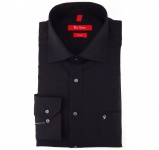 Ben Green Herrenhemd schwarz Uni langarm bügelfrei - New-Kent-Kragen Hemd Gr.43