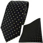 TigerTie Designer Krawatte + Einstecktuch in schwarz gold gepunktet