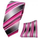 Schmale TigerTie Krawatte + Einstecktuch rosa pink magenta anthrazit silber grau