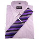 TRAVELMASTER Business Herrenhemd flieder - Gr.45/46 XXL kurzarm Krawatte Nadel
