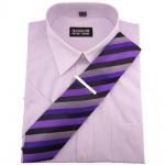 TRAVELMASTER Business Herrenhemd flieder Hemd Gr.41/42 L kurzarm Krawatte Nadel