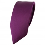 schmale TigerTie Satin Seidenkrawatte pflaume einfarbig - Krawatte 100% Seide