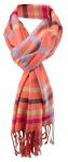 Damen Schal in lachs orange rot blau kariert Gr. 180 cm x 68 cm - Tuch Halstuch
