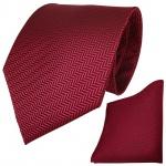 Set TigerTie Designer Krawatte + Einstecktuch in rot dunkelrot schwarz gestreift