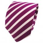 TigerTie Seidenkrawatte magenta fuchsia silber gestreift - Krawatte Seide Silk