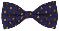 TigerTie Seidenfliege in blau braun schwarz gold Paisley gemustert - 100% Seide