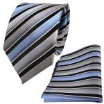 TigerTie Seidenkrawatte + Seideneinstecktuch grau blau schwarz silber gestreift