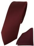 schmale TigerTie Designer Krawatte + Einstecktuch in weinrot einfarbig uni