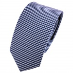 schmale TigerTie Seidenkrawatte blau silber gepunktet - Krawatte Seide Tie