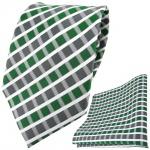 TigerTie Designer Krawatte + Einstecktuch grün grau silber weiss gestreift