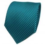 TigerTie Designer Seidenkrawatte türkis schwarz gestreift - Krawatte Seide Silk
