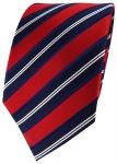 TigerTie Seidenkrawatte in rot dunkelblau silber gestreift - Krawatte 100% Seide