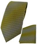TigerTie Designer Krawatte + Einstecktuch in gelb gold schwarz silber gemustert