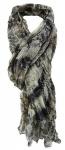 TigerTie Chiffon Schal in grau schwarz braun creme gemustert - Gr. 180 x 100 cm