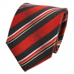 TigerTie Designer Seidenkrawatte orange schwarz weiß gestreift - Krawatte Seide