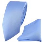 schmale TigerTie Satin Seidenkrawatte + Seideneinstecktuch blau einfarbig Uni