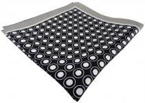 TigerTie Seideneinstecktuch grau schwarz weiss gepunktet - Pochette 100% Seide