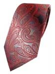 TigerTie Designer Seidenkrawatte rot verkehrsrot grau silber Paisley gemustert