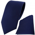 TigerTie Seidenkrawatte + Einstecktuch in marine silber gepunktet - Krawatte