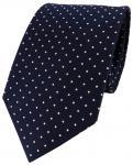 schöne TigerTie Seidenkrawatte blau royal silber gepunktet - Krawatte 100% Seide