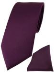 TigerTie Designer Krawatte + TigerTie Einstecktuch bordeauxviolett einfarbig uni