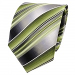 TigerTie Seidenkrawatte grün hellgrün grau silber gestreift- Krawatte Seide Silk