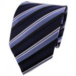 XXL TigerTie Seidenkrawatte blau silber schwarz gestreift - Krawatte 100% Seide