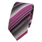 Schmale Designer Seidenkrawatte violett grau anthrazit gestreift- Krawatte Seide
