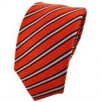Enrico Sarto Seidenkrawatte orange schwarz silber gestreift - Krawatte Seide Tie
