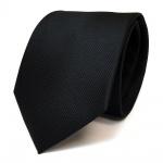Designer Krawatte schwarz Uni fein Rips - 100 % Polyester