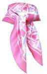 TigerTie Seiden Nickituch Satin in pink rosa blau weiss gemustert - 100% Seide