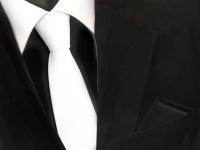 schmale TigerTie Krawatte weiß schneeweiß + Einstecktuch schwarz uni einfarbig