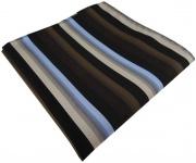 TigerTie Einstecktuch in braun blau beige schwarz gestreift - Größe 30 x 30 cm