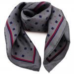 Damen Nickituch in Seide anthrazit grau blau rot 53 x 53- Tuch Halstuch Schal