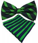 Designer Seidenfliege + Einstecktuch Seide grün smaragdgrün blau royal gestreift