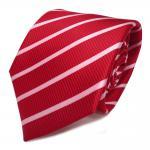 feine Designer Seidenkrawatte in rot rosa gestreift - Krawatte 100% Seide Silk