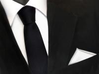 schmale TigerTie Krawatte schwarz + Einstecktuch weiß schneeweiß uni - Binder