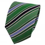 TigerTie Seidenkrawatte grün smaragdgrün blau weiß gestreift - Krawatte Seide