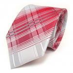 Designer Seidenkrawatte in rot grau silber weiss kariert - Krawatte 100 % Seide