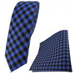schmale TigerTie Krawatte + Einstecktuch in royal marine blau anthrazit kariert