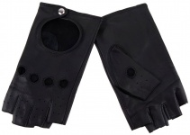 Damen Handschuhe fingerlos - hochwertiges weiches Schafsleder schwarz - Gr. 7, 0