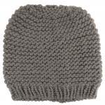 Damen Strickmütze grau Uni - Wintermütze Mütze Größe M