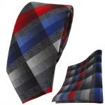 schmale TigerTie Krawatte + Einstecktuch rot blau anthrazit silber grau kariert