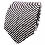 TigerTie Seidenkrawatte anthrazit grau silber weiß gestreift - Krawatte Seide