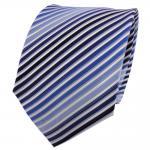 TigerTie Seidenkrawatte blau hellblau dunkelblau weiß gestreift - Krawatte Seide