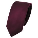 schmale TigerTie Designer Krawatte bordeaux rot weinrot Uni Rips - Binder Tie