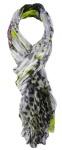 TigerTie Chiffon Schal in grün grau weiß lila mit Blumenmuster - Gr. 180 x 70 cm