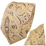 TigerTie Designer Krawatte + Einstecktuch gelb gold sandgelb anthrazit Paisley