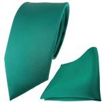Modische TigerTie Satin Seidenkrawatte + Seideneinstecktuch in grün einfarbig